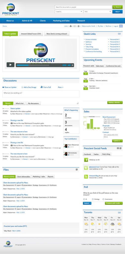 Prescient intranet home page using SharePoint 2013
