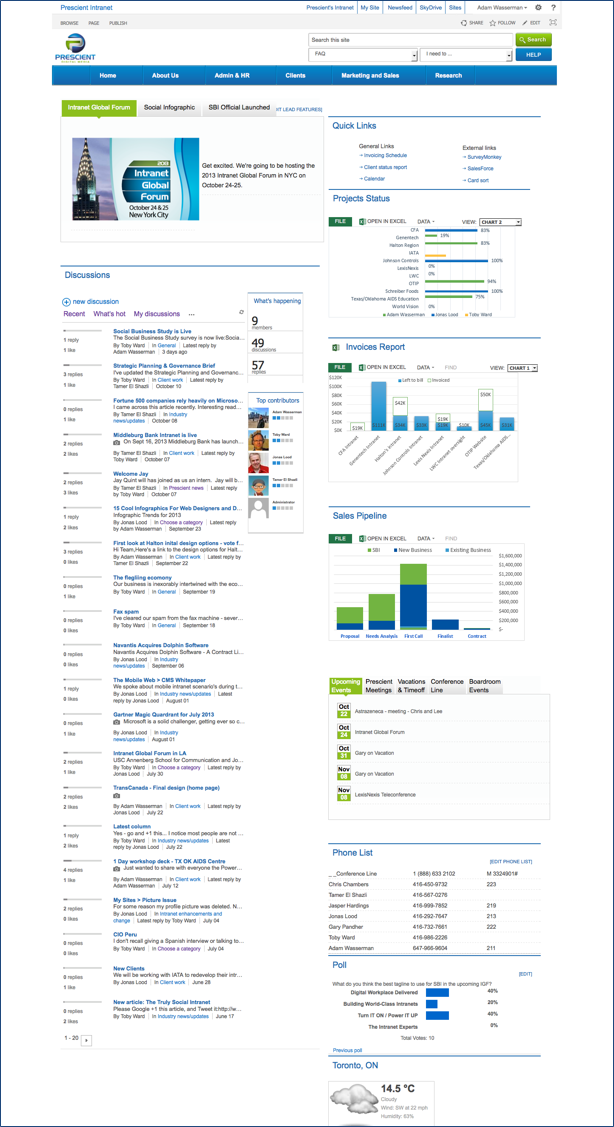 Social intranet at Prescient Digital Media using SharePoint 2013