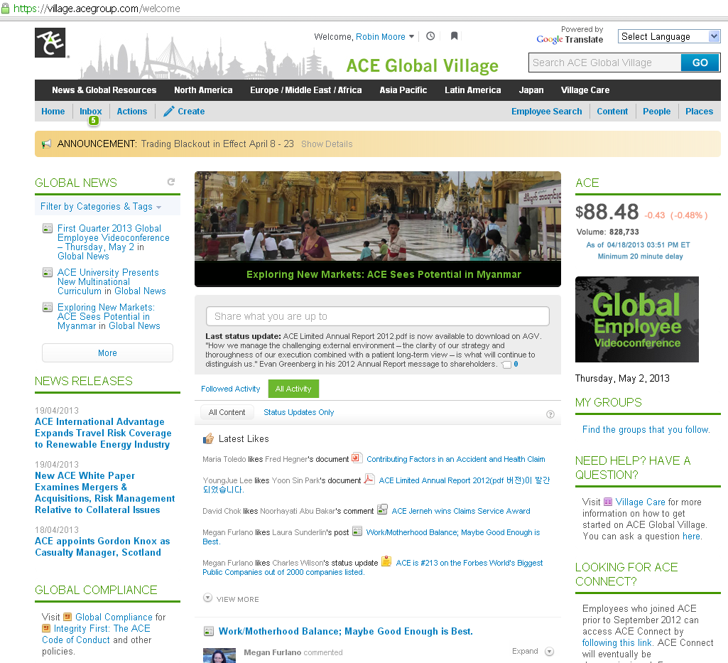ACE International intranet home page 2013