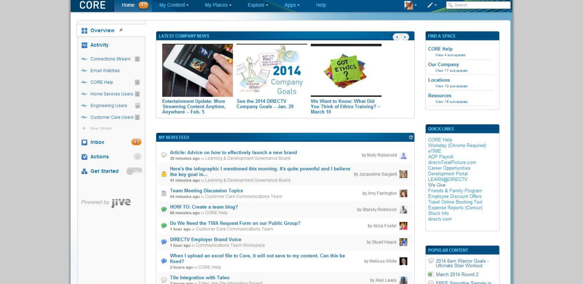directv intranet home page may 2014 - Intranet Design Ideas