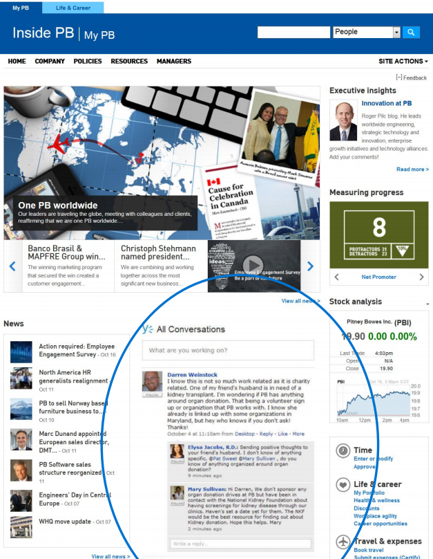 Pitney Bowes Intranet home page using Yammer integration