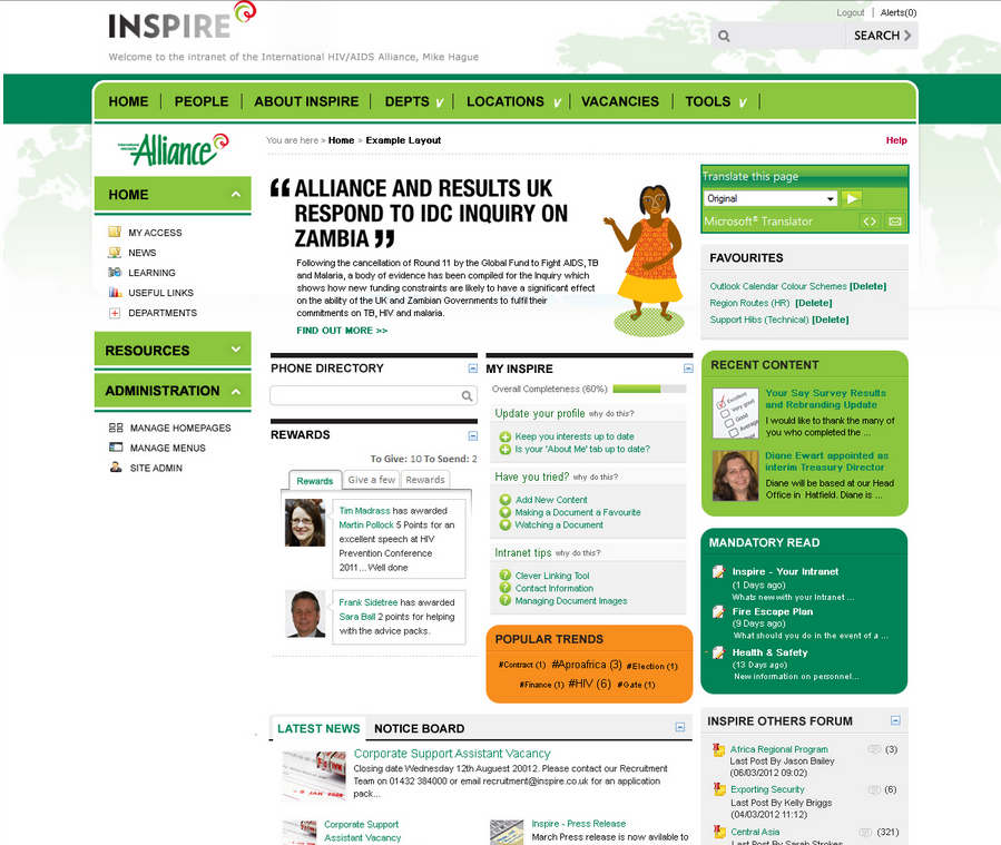 HIV AIDS Alliance Intranet from Interac Intranet