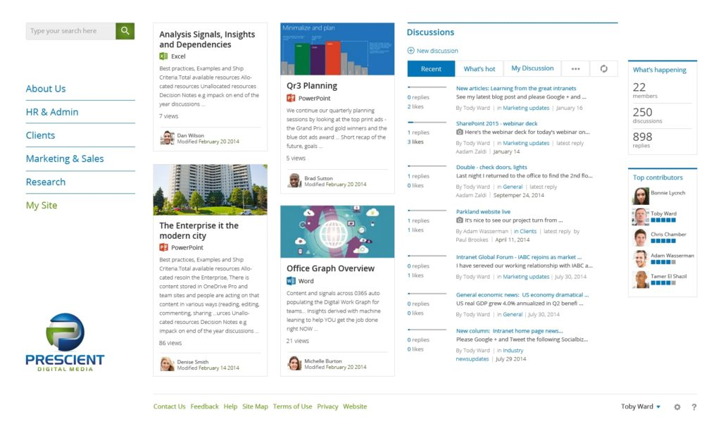 Social intranet design, the new Prescient Digital Media intranet