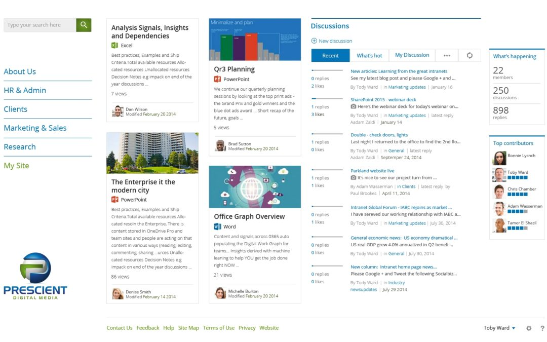 Social intranet design