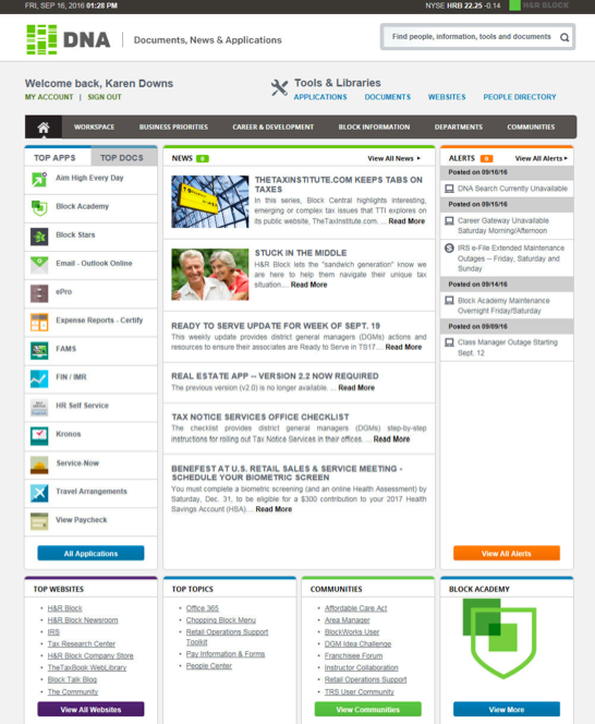 Intranet case study by the numbers: H&R Block