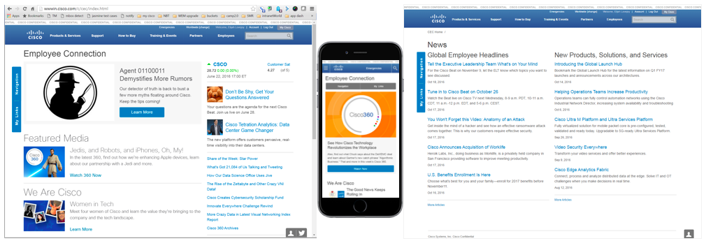 Cisco intranet home and mobile intranet