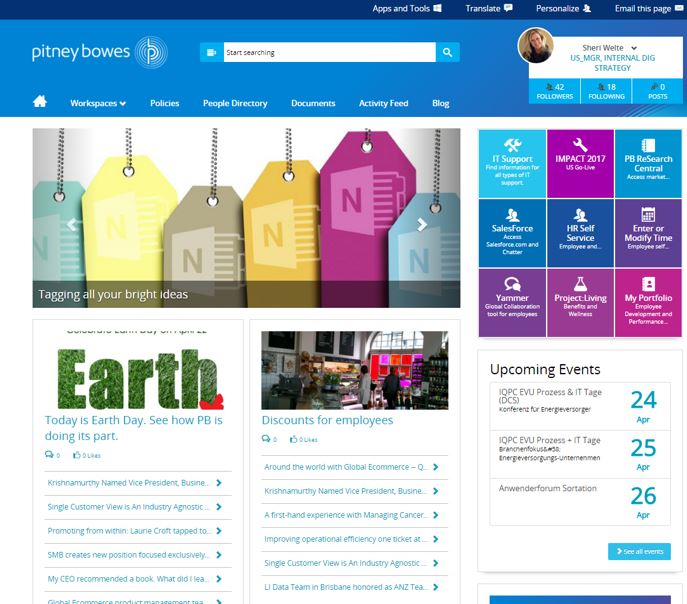 pitney bowes intranet home 2016